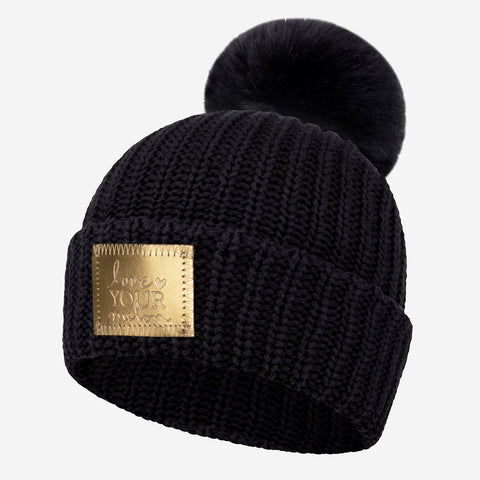 Black Gold Foil Patch Pom Beanie
