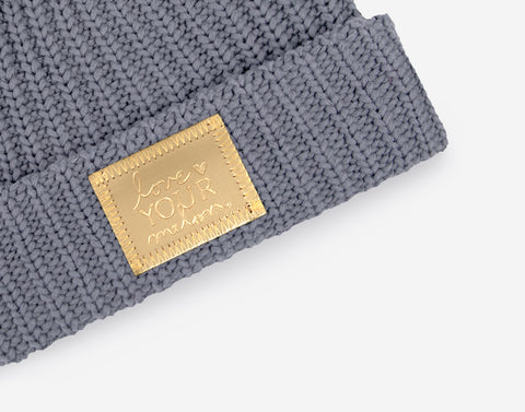Light Charcoal Gold Foil Patch Pom Beanie