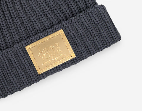 Dark Charcoal Gold Foil Patch Pom Beanie