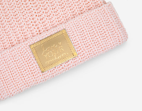 Blush Gold Foil Patch Pom Beanie