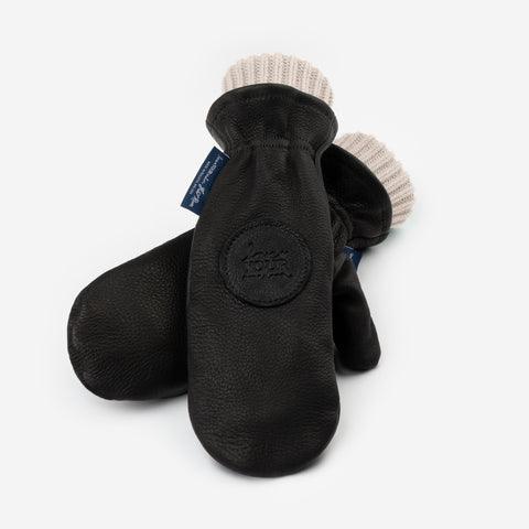 Black Leather Knit Mittens (Natural Knit Liner)