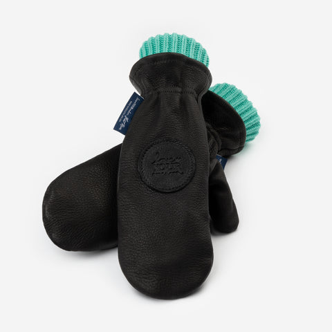 Black Leather Knit Mittens (Mint Knit Liner)