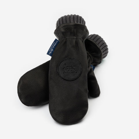 Black Leather Knit Mittens (Light Charcoal Knit Liner)