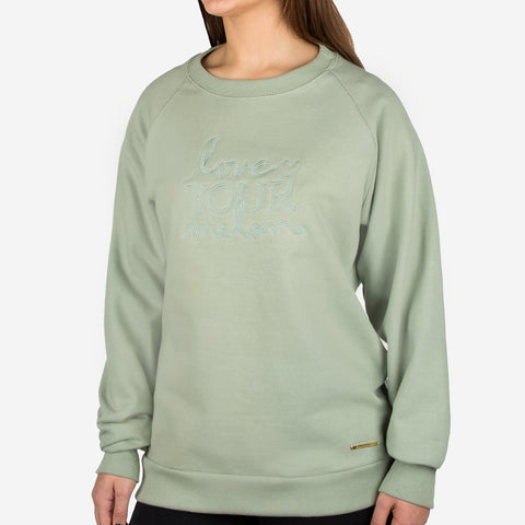 Sage Green Gold Bar Crew Sweatshirt
