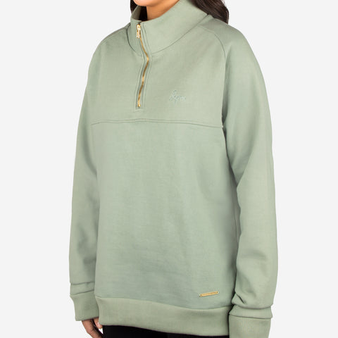 Sage Green Gold Bar Quarter Zip Sweatshirt