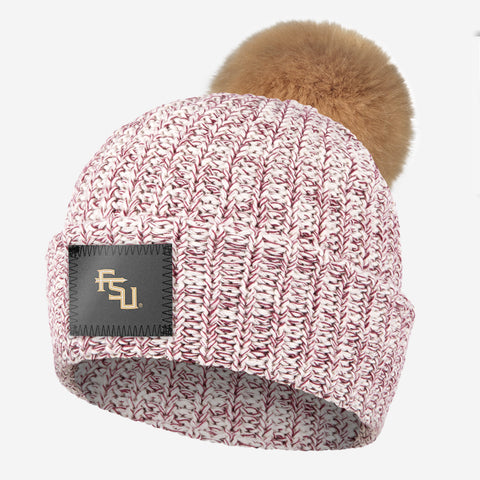 Florida State Seminoles Burgundy Speckled Pom Beanie (Natural Pom)