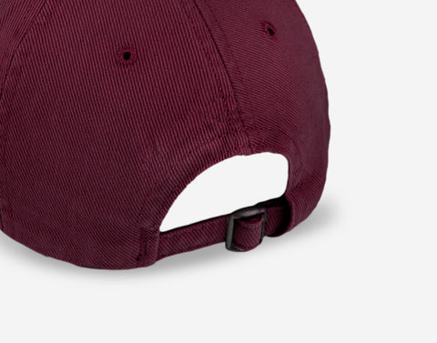 Burgundy Gold Logo Washed Denim Cap
