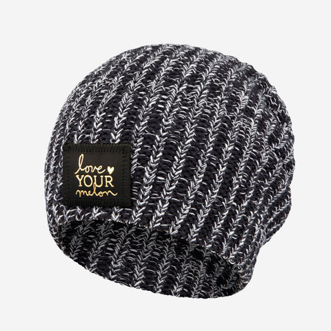 2775d1c3205b2 Black and White Speckled Gold Foil Beanie-Beanie-Love Your Melon ...