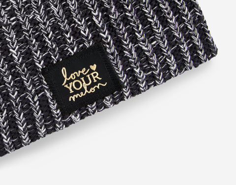 Black and White Speckled Gold Foil Beanie