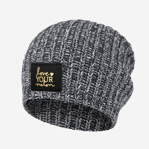Charcoal and White Speckled Gold Foil Beanie-Beanie-Love Your Melon ... 8a7176f7c69