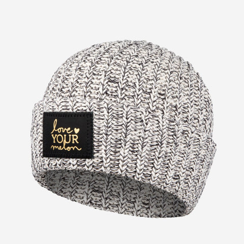 Black Speckled Gold Foil Cuffed Beanie