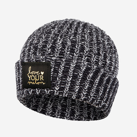 Black and White Speckled Gold Foil Cuffed Beanie-Beanie-Love Your Melon