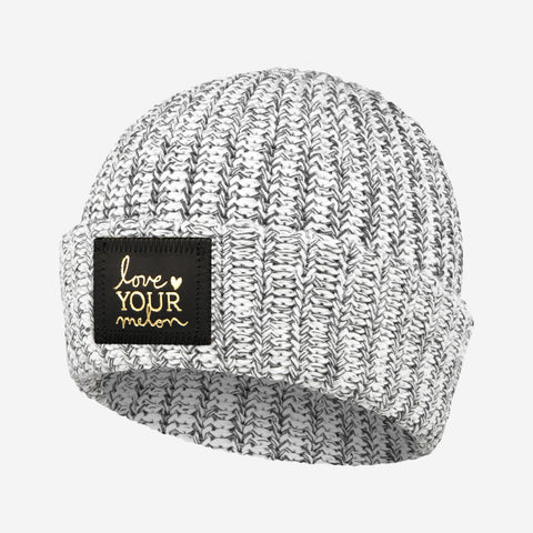 Charcoal Speckled Gold Foil Cuffed Beanie