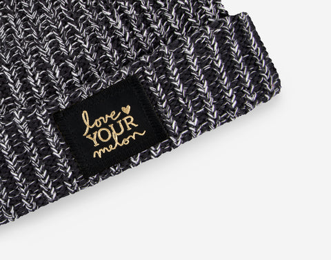 Black and White Speckled Gold Foil Cuffed Beanie