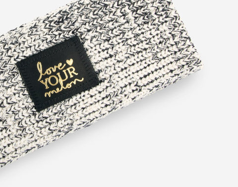Black Speckled Gold Foil Knit Headband