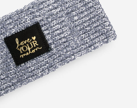 Light Charcoal and White Speckled Gold Foil Knit Headband