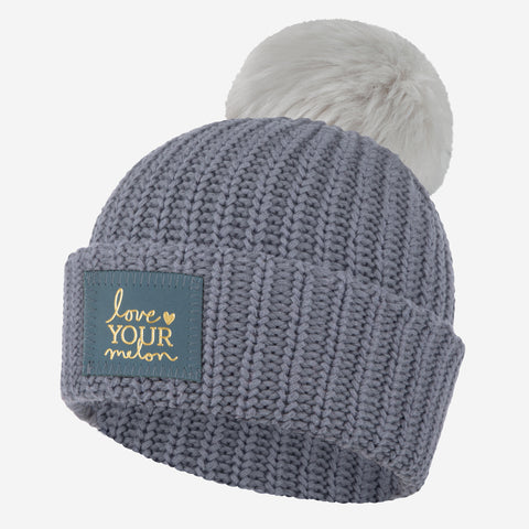 Light Gray Monochrome Gold Foil Pom Beanie