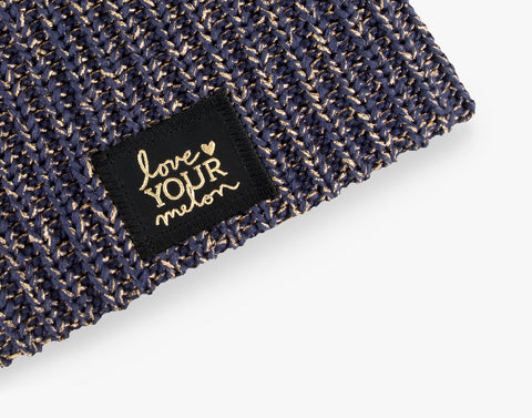 Navy Metallic Gold Yarn Beanie-Beanie-Love Your Melon