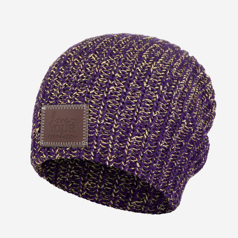 Purple Metallic Gold Yarn Beanie