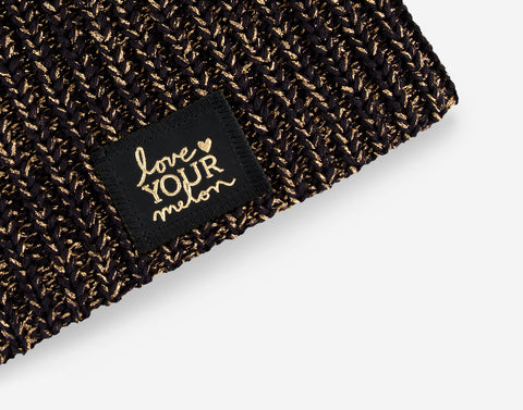 Black Metallic Gold Yarn Beanie-Beanie-Love Your Melon