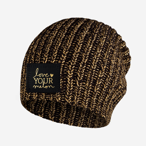 Black Metallic Gold Yarn Beanie