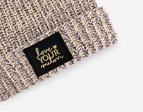 Black Speckled Metallic Gold Yarn Cuffed Beanie-Beanie-Love Your Melon