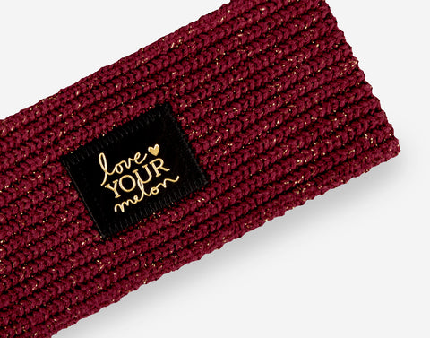 Burgundy Metallic Gold Yarn Knit Headband-Knit Headband-Love Your Melon