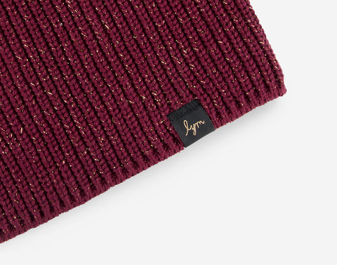 Burgundy Metallic Gold Yarn Lightweight Beanie-Beanie-Love Your Melon