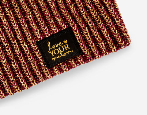 Burgundy Metallic Gold Yarn Beanie-Beanie-Love Your Melon