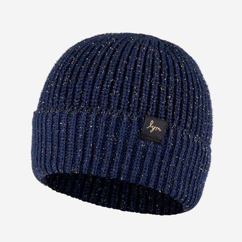 Navy Metallic Gold Yarn Lightweight Beanie-Beanie-Love Your Melon