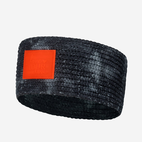 Charcoal Tie Dye Knit Headband (Orange Glow in Dark Patch)