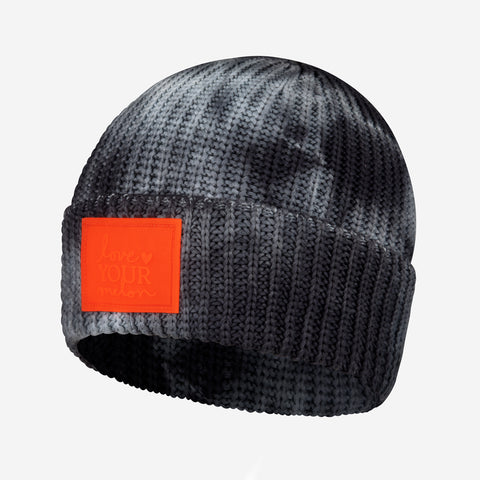 Charcoal Tie Dye Lightweight Cuffed Beanie (Orange Glow in Dark Patch)
