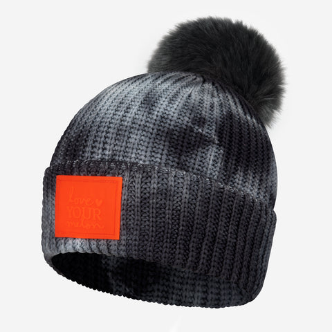 Charcoal Tie Dye Lightweight Pom Beanie (Orange Glow in Dark Patch)