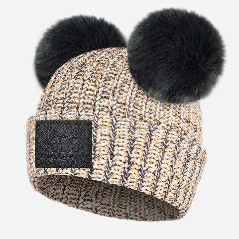 Black Speckled Metallic Gold Yarn Double Pom Beanie (Black Diamond Patch)