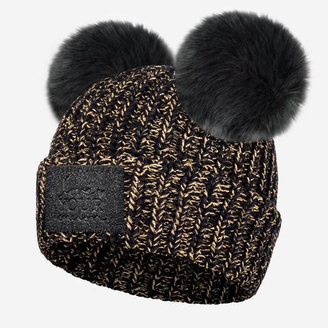 Black Gold Metallic Yarn Double Pom Beanie (Black Diamond Patch)