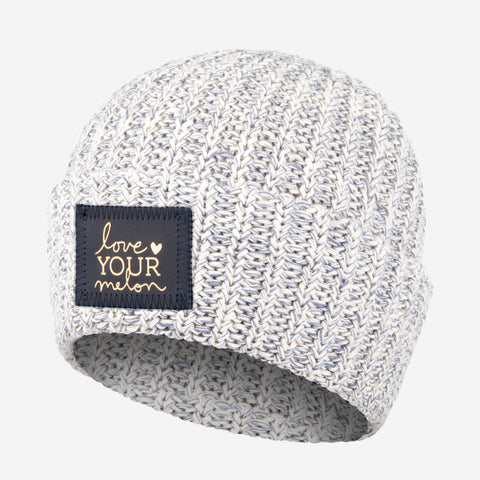Gray Speckled Cuffed Beanie (Navy Gold Foil Patch)