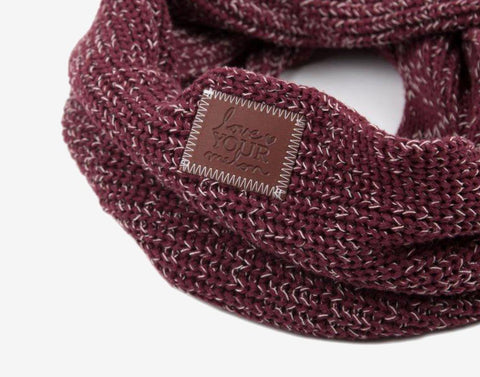 Burgundy and Natural Speckled Infinity Scarf-Scarf-Love Your Melon