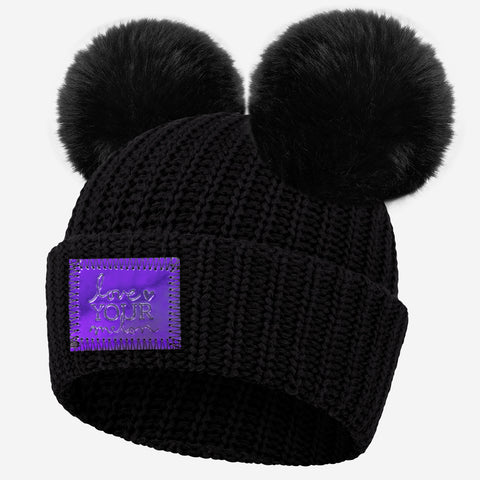 Black Double Pom Beanie (Dark Blue Iridescent Patch)