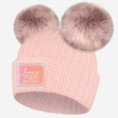 Blush Double Pom Beanie (Peach Iridescent Patch)