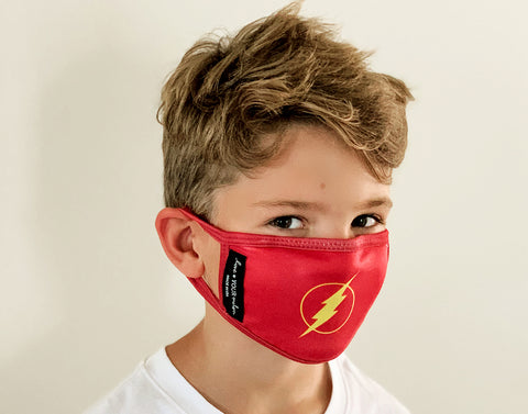 Kids The Flash™ Face Mask with Nose Piece + Filter Pocket