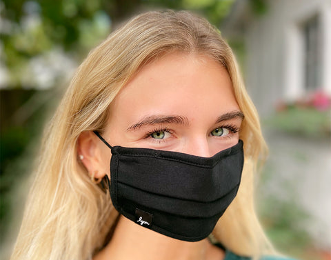 Adult Black Adjustable Pleated Cotton Face Mask with Nose Piece
