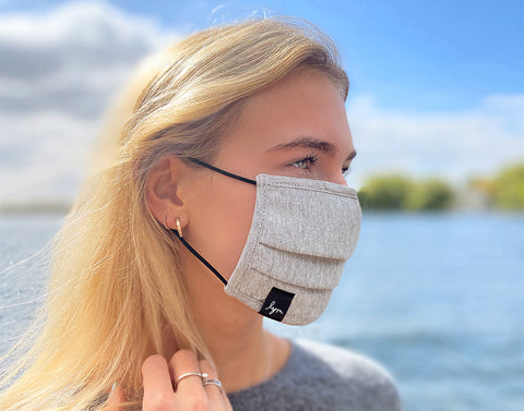 Adult Heather Gray Adjustable Pleated Cotton Face Mask with Nose Piece