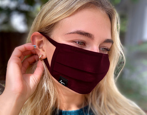 Adult Burgundy Pleated Cotton Face Mask with Nose Piece