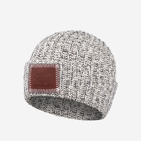 Kids Black Speckled Cuffed Beanie-Beanie-Love Your Melon