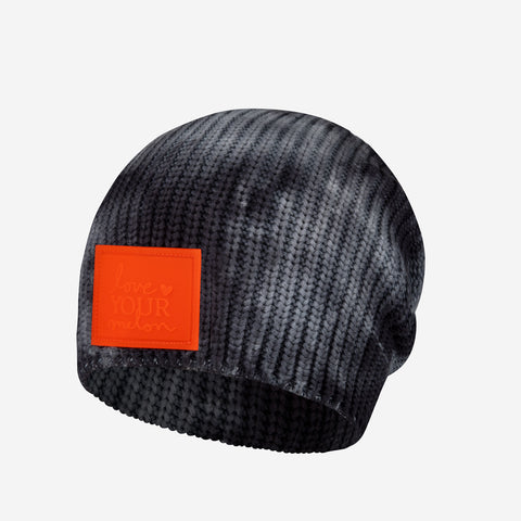 Charcoal Tie Dye Kids Lightweight Beanie (Orange Glow in Dark Patch)
