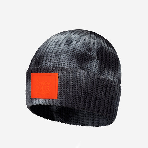 Charcoal Tie Dye Kids Lightweight Cuffed Beanie (Orange Glow in Dark Patch)