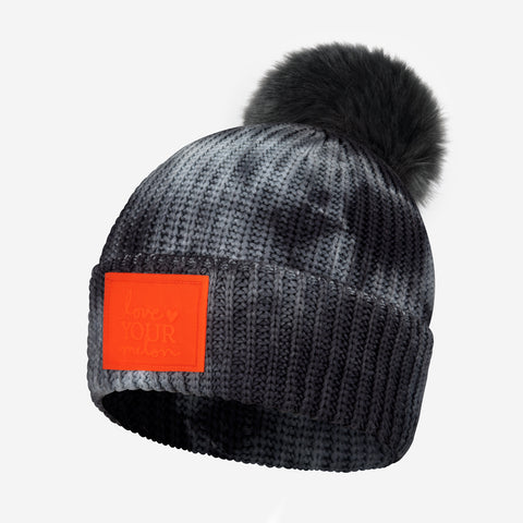 Charcoal Tie Dye Kids Lightweight Pom Beanie (Orange Glow in Dark Patch)