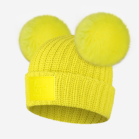 Neon Yellow Kids Double Pom Beanie