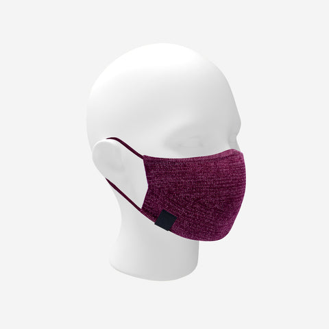 Adult Burgundy and Blush Speckled Cotton Seamless 3D Knit Face Mask