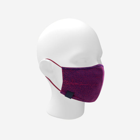 Adult Burgundy and Navy Speckled Cotton Seamless 3D Knit Face Mask